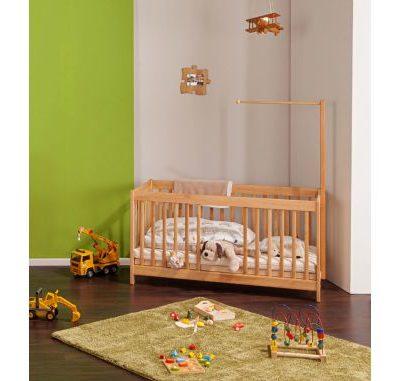Kinderbett in Erle, Liegefläche niedrig, mit Schlupfloch und Himmelstange